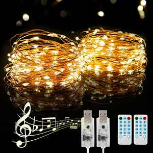 USB String Light 2 Pack 39FT/12M 120 LEDs PHYSEN USB Plug-in Fairy Lights Warm White for Xmas, Wedding, Party, Bedroom, Garden, Outdoor/Indoor Wall Decorations, IP65 Waterproof -Silver Wire