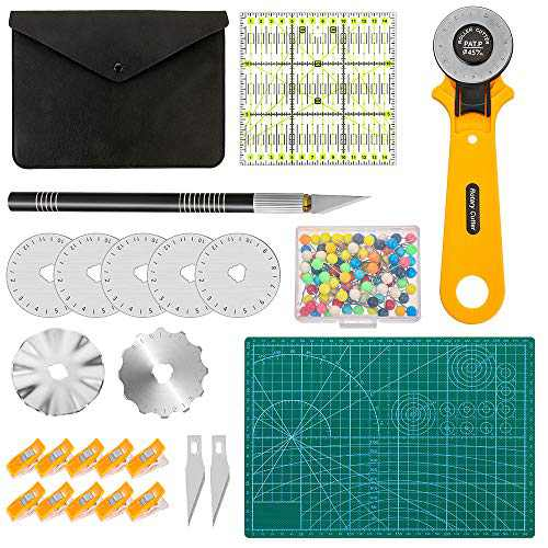 Urijk Rotary Cutter Kit, 45mm Fabric Cutter Tool Set with 7 Extra Blades, Precision Knife, Cutting Mat, Patchwork Ruler, Positioning Nails & Craft Clips - Ideal for Crafting, Sewing and Quilting