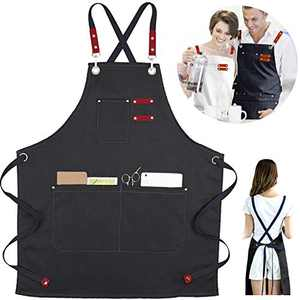 XAITE Aprons for Men Women Adults Chef Cooking Apron with Pockets Canvas Back Adjustable Bib Apron for BBQ Painting Grilling Hair Stylist Drawing Crafting (Black)