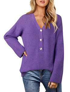 Timeson Womens Sweaters Pullover,Long Sleeve Fashion V Neck Sweater Loose Fit Hem Button Down Fleece Jumper Shirts Oversized Knitted Winter Warm Wool Pullover Shirts Long Sweater Dressy Tops Violet