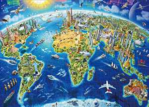 Jacriah Jigsaw Puzzles 1000 Piece for Adults Challenge Large Puzzle Game for Adult Teen Kids Family Friends Toy Gift Perfect for Age 14+ Learning Education Board Size 27x19in(World Landmarks Map)