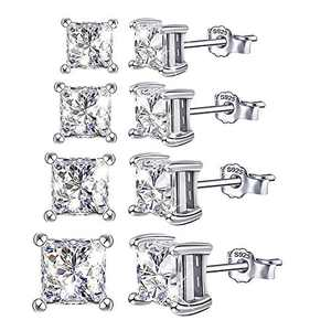 Cubic Zirconia Square Stud Earrings Set - 14K White Gold Plated Sterling Silver Hypoallergenic Square CZ Studs Earrings Set Gift for Women Girls , 4Pairs 3MM/4MM/5MM/6MM