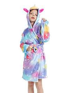 Unicorn Robe Soft Hooded Bathrobe Sleepwear Unicorn Gifts for Girls (Rainbow Star, 6-7 Years)