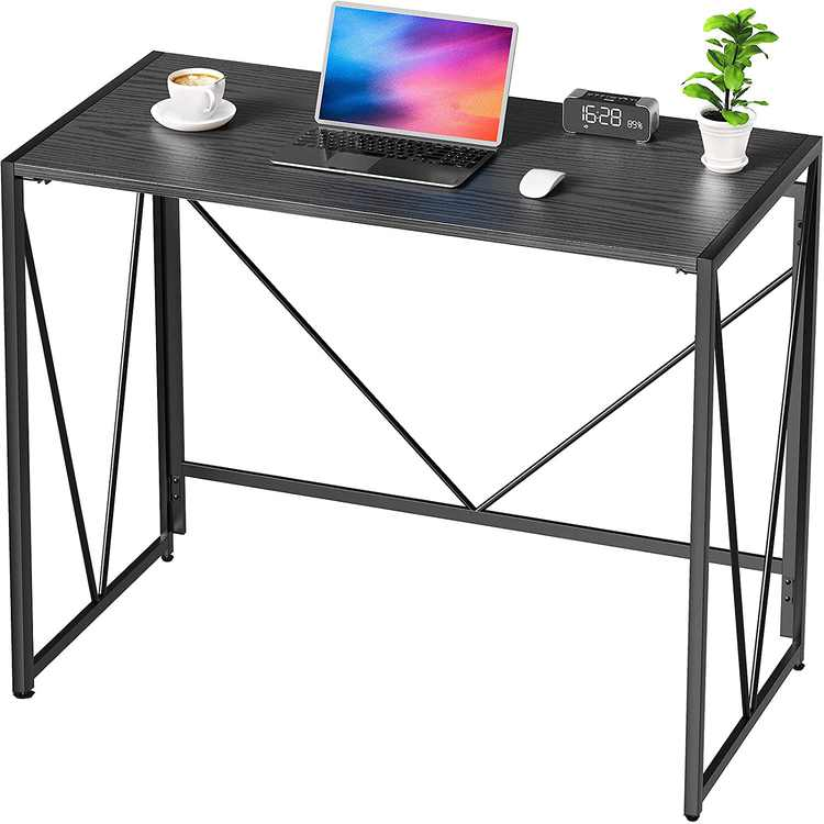 NOBLEWELL Computer Desk, No Assembly Required Folding Desk With L100 x W50 cm x H75cm, Solid Sturdy Foldable Office Desk, Wood Desk for Home Working, Study, Writing, etc. Black