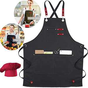 XAITE Kitchen Aprons with Free Chef Hat Grilling Cooking Apron 7 Pockets Canvas Cross Back Adjustable Professional Bib Chef Apron for BBQ