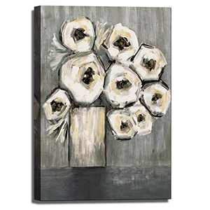 Hand-Painted Abstract Canvas Wall Art Beautiful White Flower, Large Size Canvas Art Modern Wall Decoration Ready to Hang for Bedroom Living Room Home Office(24x36inch) Still Life-0902(DC)