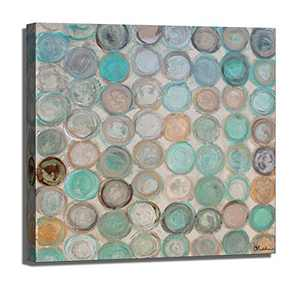 handpained Blue Abstract Canvas Wall Art, Teal Circles Canvas Modern Home Office Decor Works for Living Room Bedroom Bathroom Home Decoration, Framed Ready to Hang(32x32inch-1panel)