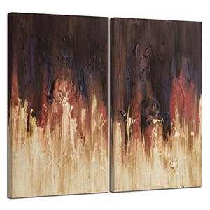 "Handpainted Autumn Canvas Art Painting Autumn Scenery,Oil Painting on Canvas Modern Abstract Canvas Wall Art Painting for Living Room Wall Decor,15""X30""-2 Panels"