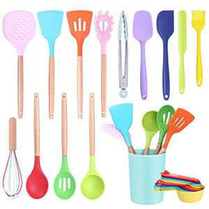 Kitchen Utensil Set, CIYOYO 26Pcs Silicone Kitchen Utensil Sets Cooking Utensils, Wooden Handle Spatula Turner Spoon Sets with Holder, Heat Resistant Kitchen Tools Gadgets for Non Stick Pans