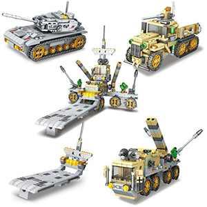 LUYE Military Building Blocks 1041pcs STEM Building Toys for Boys 8 Models Army War Tank Educational Construction Bricks DIY Gifts for Teens Kids Birthday