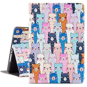 Lokigo 10.2 Inch iPad Case for 8th Generation 2020, iPad 7th Gen Protective Case Cover 2019 with Premium PU Leather Soft TPU Adjustable Viewing Stand, Supports Auto Wake/Sleep (Cute Llama Alpaca)