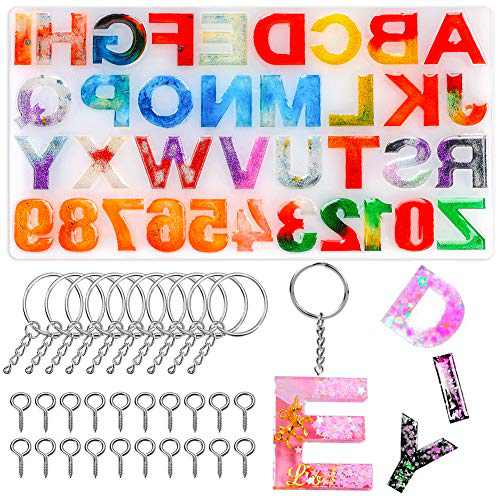 Souarts 41 PCS Silicone Alphabet Silicone Molds, Casting Resin Molds Tools Set, Keychain Silicone Molds for Jewelry DIY Keychain Ring Eyepins Jewelry Making, for DIY Crafts Jewellery Handmade