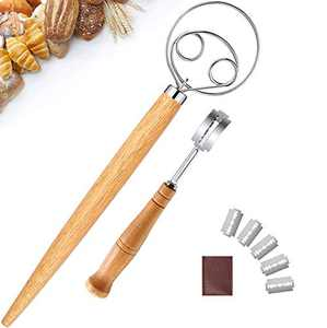 Danish Dough Whisk and Bread Lame Set, HUIMS Stainless Steel Bread Flour Mixer, Bread Dough Scoring Tool Includes Replacement Blades and Leather Protective Cover for Cake Dessert Bread Pastry (1 Set)