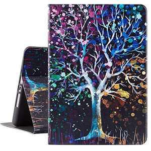 Lokigo iPad 10.2 Inch Case for iPad 9th Generation 2021 Flower, iPad 8th Generation Case 2020, iPad 7th Generation Case 2019, Protective Tablet Case for Girls Women, Auto Wake/Sleep, Tree