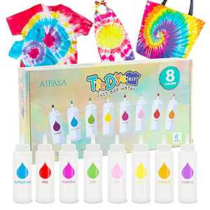Tie Dye Kit, 8 Colors 16 Dye Packets for Tie Dye Kit for Kids,AIPASA One-Step Tie Dye Set, Textile, T-Shirt, Canvas Supplies for Adults, Women, Men, Artist, Children, Party, Festival Fashion DIY Gift