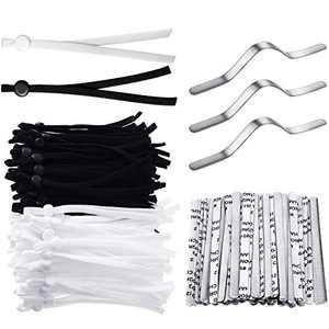 60 Pieces Elastic Bands with Adjustable Buckles Stretch String Cords Earloop Thread Rope and 30 Pieces Nose Bridge Wire Metal Nose Strips for DIY Crafts Making Sewing Supplies