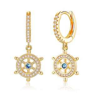 Gold Ship Wheel Huggie Hoop Earring Hoops Endless Huggies Dangle Simple Earrings Everyday Gift Boat Wheel Earrings