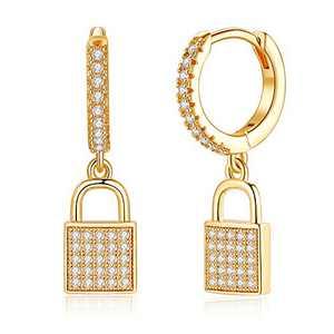 Padlock Huggie Hoop Earrings, 925 Sterling Silver Post Cubic Zirconia Huggy Lock Danlge Hoop Earrings for Her