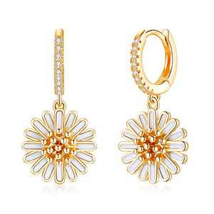 Daisy Huggie Hoop Earrings, 925 Sterling Silver Post Daisy Huggy Dangle Earrings for Women