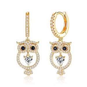 Owl Huggie Hoop Earrings, 925 Sterling Silver Post Owl Dangle Earrings for Women Girls