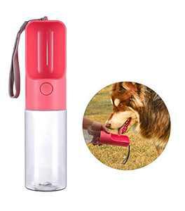 Pet Water Bottle, HUIMS Dog Water Bottle for Walking Outdoor, Dog Water Bowl Dispenser with Drinking Bowl, Pet Travel Water Drink Cup, Leak Proof & Food Grade BPA Free, 450ml/15.2oz (Pink)