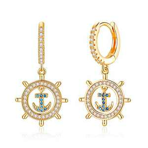 Anchor Captains Wheel Earrings,925 Sterling Silver Post Anchor Huggie Hoop Earrings Bon Voyage Gifts