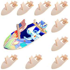 Vannana 10 Pcs DIY Wooden Sailboat Rubber Band Paddle Boat Decorate Shipping Toy Coloring Paint Arts Craft Kits for School Kids Birthday Party Gifts