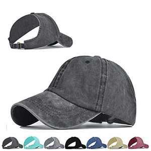 Backless Ponytail Top Hats for Women Baseball Caps High Messy Bun Baseball Hats Sun Visor Ponycaps (Dark Gray)