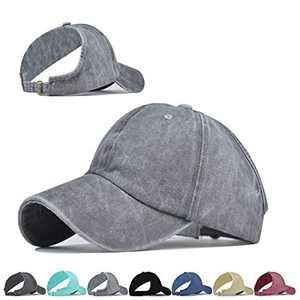 Backless Ponytail Top Hats for Women Baseball Caps High Messy Bun Baseball Hats Sun Visor Ponycaps (Gray)