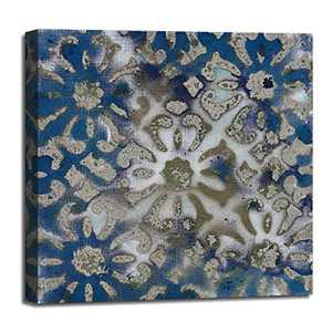 ATOBART Vintage Blue Flower Pattern Prints Wall Decor Artwork for Bedroom Ocean Style Decorative Pattern Size 20x20x1.5 inch