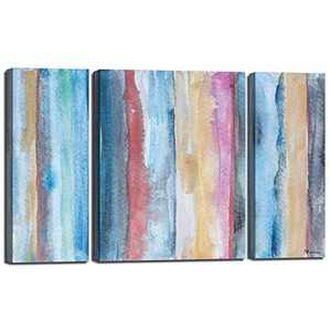 ATOBART Canvas Wall Art- Abstract Rainbow Oil Painting Framed for Living Room Bedroom Canvas Print Wall Decor Artwork Ready to Hang 2PK-9x24inch,1PK-18x24inch