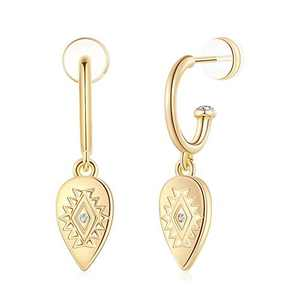 Huggie Hoop Earrings for Women, Evil Eye Earrings 925 Sterling Silver Post 14K Gold Plated Small Evil Eye Dangle Hoop Earrings Dainty Cute Hypoallergenic Earrings Jewelry Gift for Women Girls