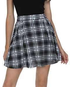 Urban CoCo Women Plaid Pleated Mini Skater Skirt High Waisted School Skirt (White, M)