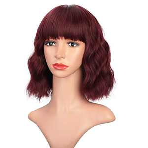 """Earfodo Synthetic Wine Red Wigs with Bangs Short Wavy Wigs for Women Shoulder Length Wig Natural Looking 12"""""""