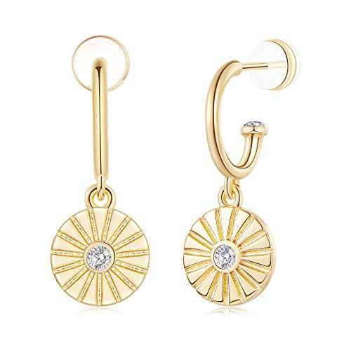 Huggie Hoop Earrings for Women, Fan Earrings 925 Sterling Silver Post 14K Gold Plated Small Fan Dangle Hoop Earrings Dainty Cute Hypoallergenic Earrings Jewelry Gift for Women Girls