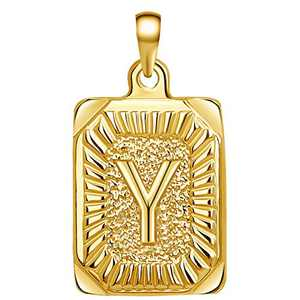 Joycuff 14K Gold Filled Necklace Personalized Name Letter Pendant Only Necklaces Cute Unique Fashion Trendy Handmade Square Stainless Steel Jewelry Simple Monogram Beautiful Necklace