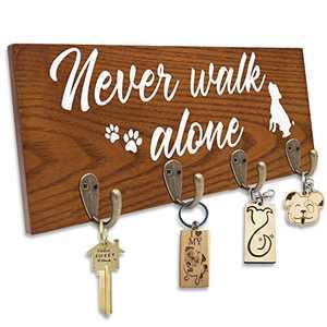 Dog Wooden Key Holder Dog Leash Hanger with 4 Hooks for The Entryway Hallway Bedroom Dog Lovers Gift Dog Mom Gift Housewarming Gift Wedding Gift Organizer for Hallway