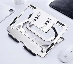2 in 1 Laptop Stand, KCZAZY Aviation Aluminum Tablet Notebook Computer Adjustable Holder, Ergonomic Bracket Universal Lightweight and Cooling Box, Sliver