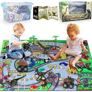 Dinosaur Toy Figures w/ Activity Play Mat & Pull-Back Cars, 46''× 32'' Large Educational Realistic Dinosaur Playset to Create a Dino Jurassic World, for Boys & Girls