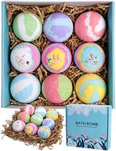 AmoVee Bath Bombs Gift Set 9, Handmade Large 99% Bubble Fizzy spa in a Box. Natural Essential Oils & shea Butter to moisturize Dry, Sensitive Skin. Nice Birthday Gift for Kid, Women, mon, Girlfriend