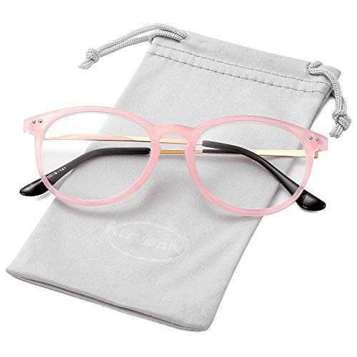 Non Prescription Clear Lens Fake Glasses for Women Men Retro Round Metal Frame Eyeglasses (Pink)