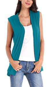 Women's Sleeveless Open Front Cardigan Vest Coat (M, Teal)