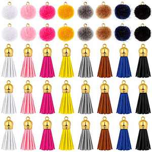80 Pieces Pompoms Earring Charm Fluffy Ball Earring Charms Tassel Earring Pendants Leather Keychain Charms with Gold Cap Set for Dangle Earring Keychain Jewelry Craft Making Supplies, Mixed Colors