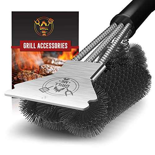 GRILLME Grill Brush with Nylon Bag and Attached Scraper, 18 Inches Sturdy Handle and Long Lasting BBQ Brush with Triple Power Stainless Steel Bristles