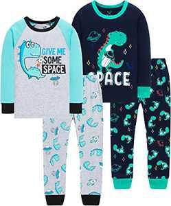 Boys Dinosaurs Space Pajamas Girls Cute Dino Rocket Pyjamas Long Clothing Pants Gift Set Size 3