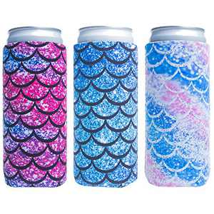 Slim Can Sleeves - Neoprene Bottle Insulator Sleeve Set of 2 Can Beverage Coolers for 12oz Energy Drink & Beer Cans (Fish scale)