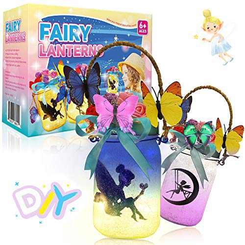 Bldaxn Fairy Craft Kits for Girls, Fun DIY Arts and Crafts Project for Kids Ages 8-12, Fairy Night Light Lantern Jars Indoors Outdoors Fairy Garden Yard Porch Kits Decorations Supplies 2 Packs