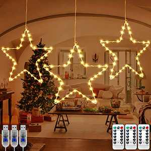 KNONEW 3 Pack LED Star Lights, 45 LED Fairy Star Light with 8 Lighting Modes/Timer/Memory, USB Powered Christmas Decorations with 3 Remote Controls for Outdoor Indoor Porch Holiday Party (Warm White)