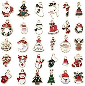 30Pcs Enamel Charms for Jewelry Making Christmas Tree Snowflake Jingle Bell Gold Plated Pendants for Necklace Bracelet Jewelry Making DIY Crafting