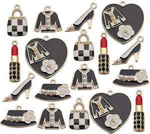 18Pcs Enamel Charms Pendants for Jewelry Making Women Makeup Lipstick Perfume Dress Purse Shoes Charms Pendent Necklace Earrings Bracelet Craft Findings